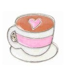 Coffee Cup w/ Pink Heart Floating Charm