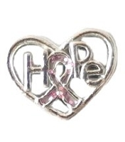 Hope Heart Floating Charm