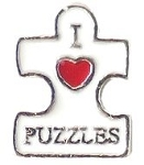 I Love Puzzles Floating Charm
