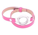 Light Pink PU Leather Bracelet 30mm w crystals