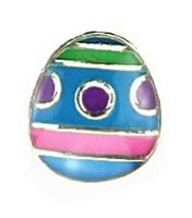 Purple Polka Dot Blue Easter Egg Floating Charm