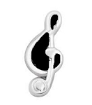 Silver and Black Music Note Floating Charm Silver