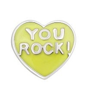 You Rock! Yellow Heart Floating Charm