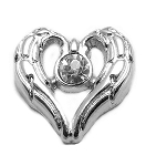 Silver Angel Wings w/ Crystal Floating Charm