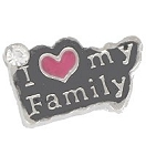 I Love My Family Floating Charm