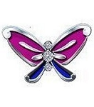 Purple and Blue Butterfly Floating Charm