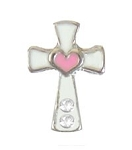 White Cross w/ Pink Heart Floating Charm